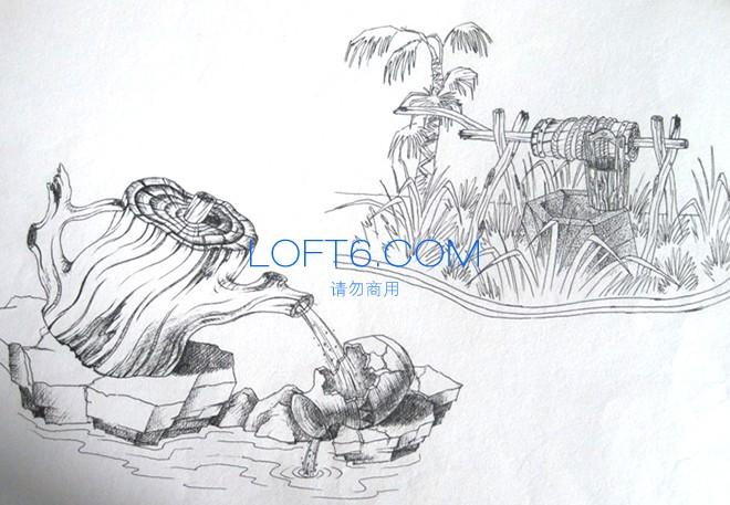 李行/湖北李行农业国际大酒店 室内生态餐厅景观雕塑设计项目草图,...